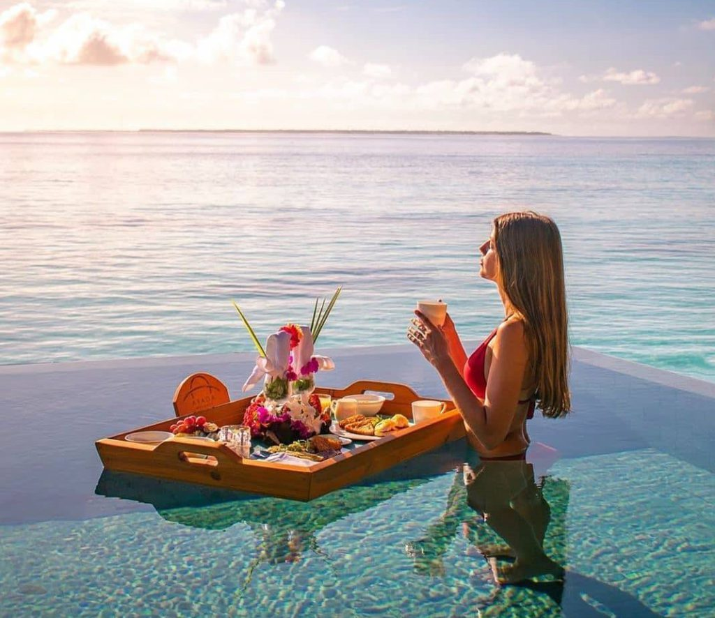 Floating pool breakfast in Thailand has become a norm.